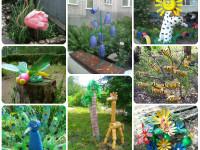 Поделки из пластиковых бутылок для декора дачи и сада (100 фото)