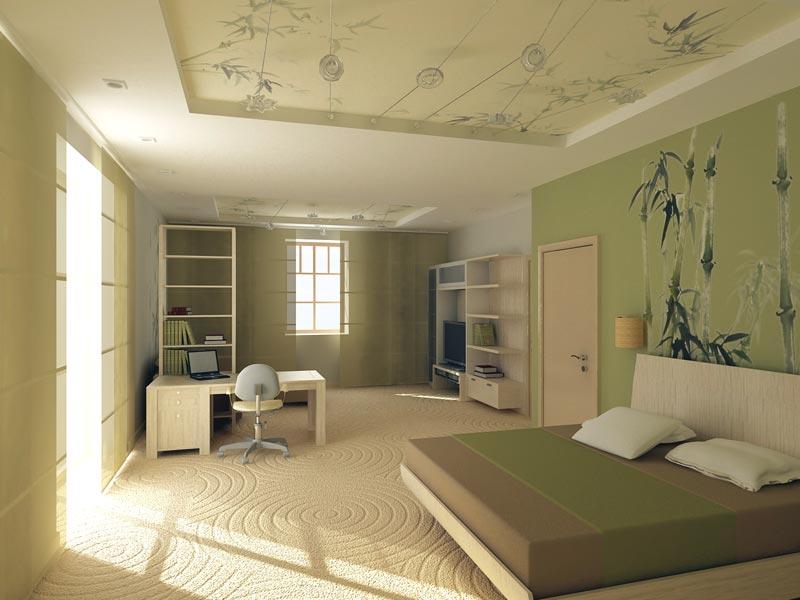 Пример совмещения рабочего места и спальни в одной комнате