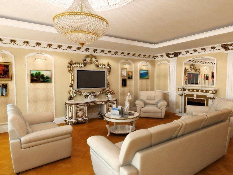 на фото показан пример классического стиля в зале