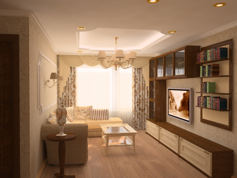 Дизайн гостиной в теплых тонах