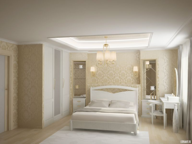 Вариант дизайн спальни в белых тонах