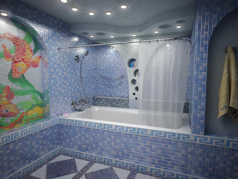 Большая-и-просторная-ванная-комната-с-греческой-мозаикой-в-голубуватых-тонах.