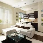 Проект дизайна гостиной, совмещенной с кухней