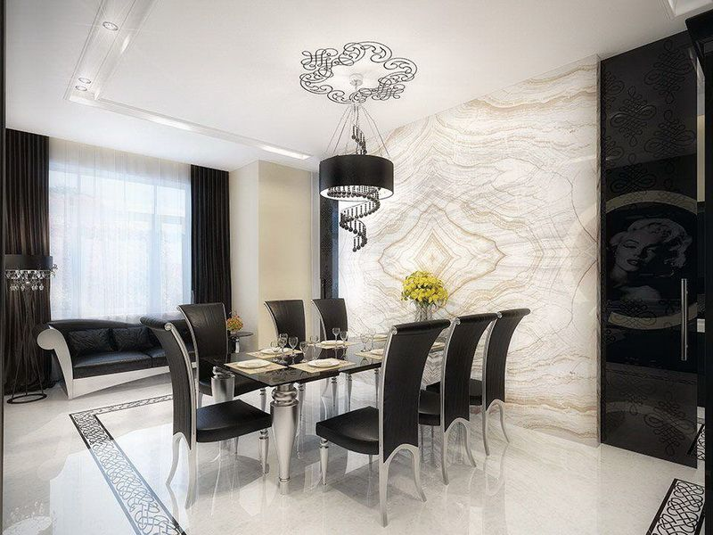 Luxurious-Black-White-Dining-Room