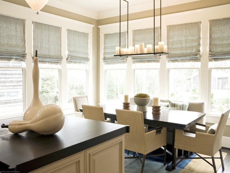 Римские шторы в интерьере кухни-столовой