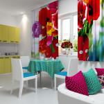 Идея дизайна штор для кухни 154