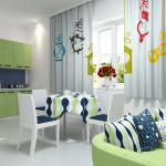 Идея дизайна штор для кухни 80