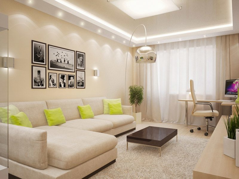 Дизайн гостиной 2018 в светлых тонах