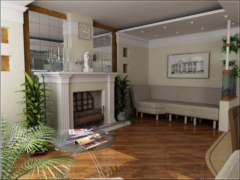 дизайн-гостиной-с-камином