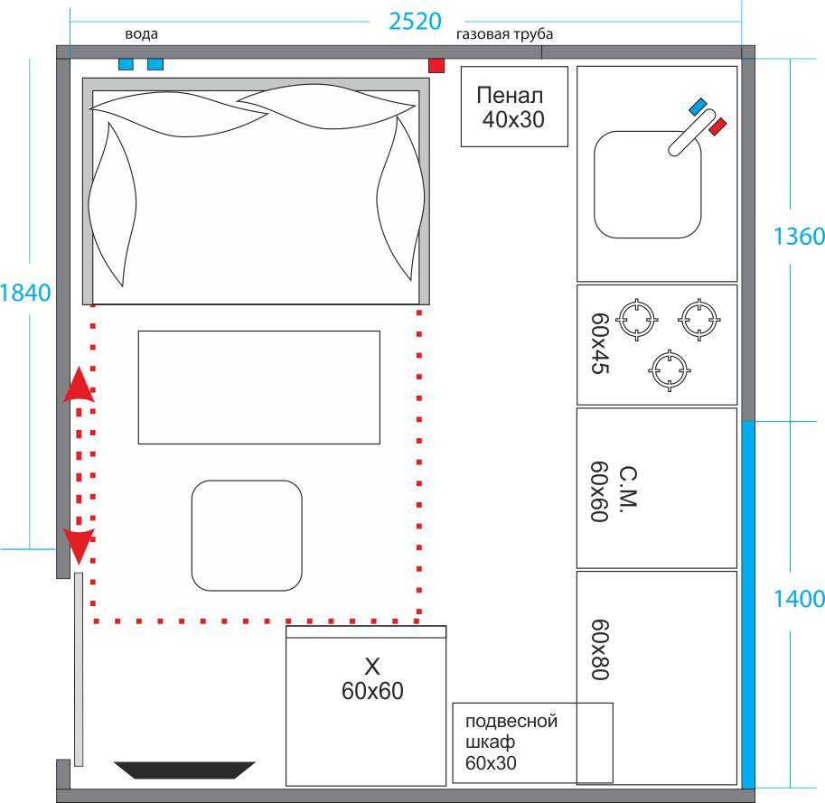 схема планировки кухни в 9 кв. м.