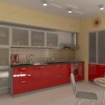 Вариант кухни с красными фасадами