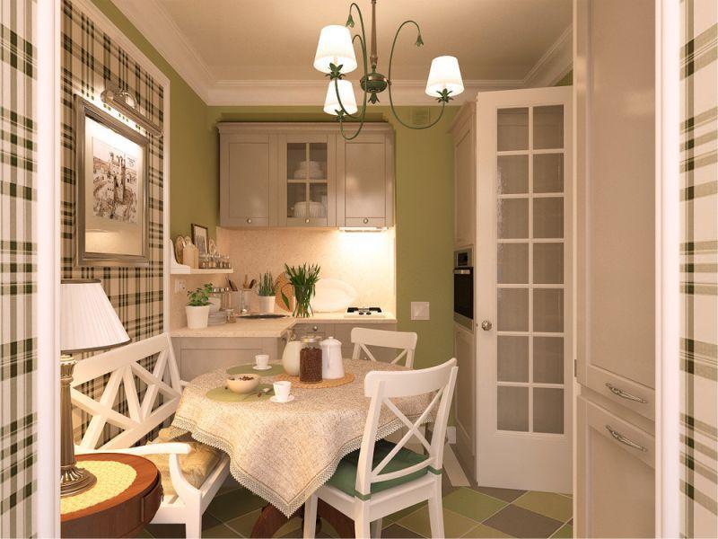 Бежевая-кухня-и-зеленые-стены
