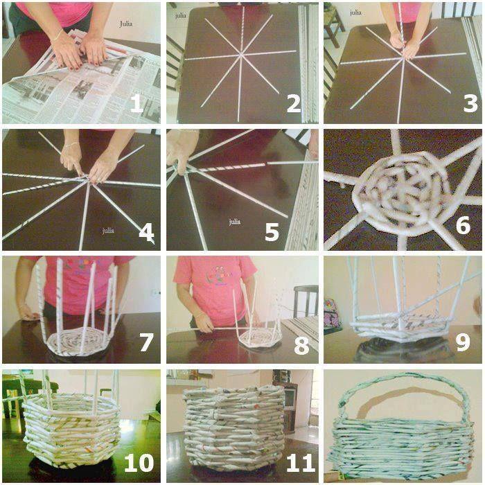 Фото инструкция по плетению корзины из газетных трубочек