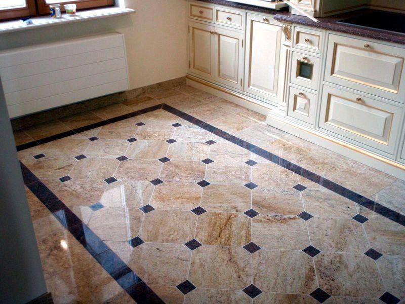 Плитка на пол для кухни: фото-обзор, способы укладки, преимущества.