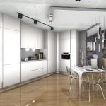 Вариант кухни в белыми фасадами