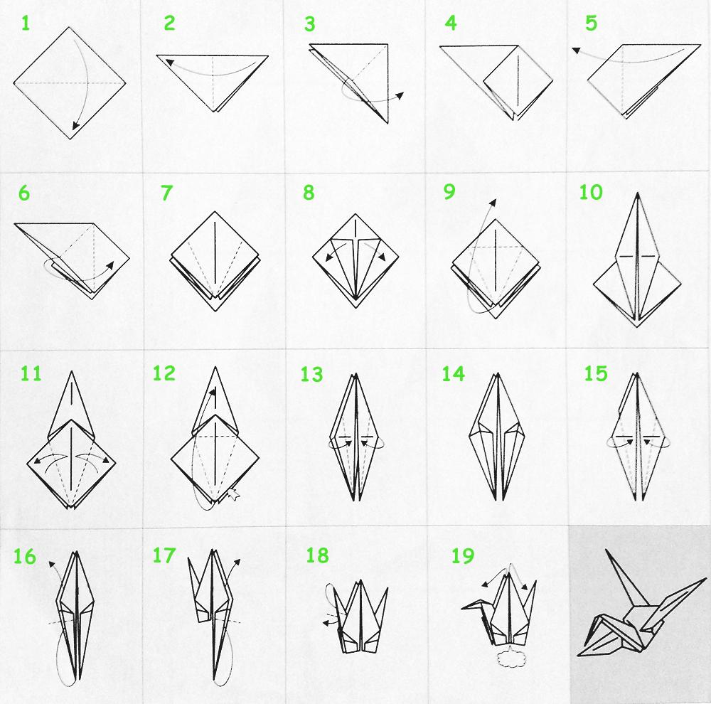 Оригами - журавлик (схема)