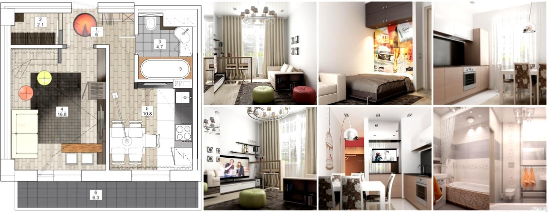 Однокомнатной квартиры дизайн 24