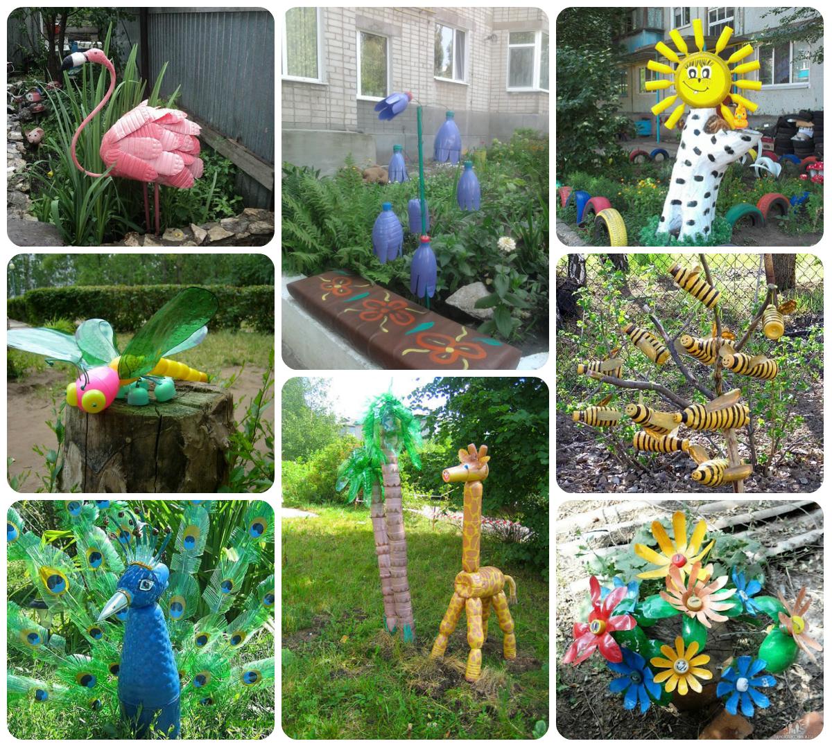 Поделки из пластиковых бутылок для декора дачи и сада