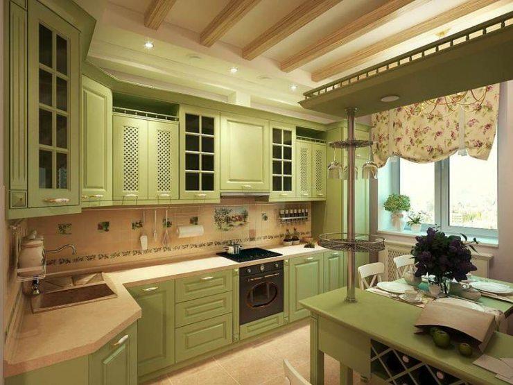 Кухня кантри в зеленых тонах
