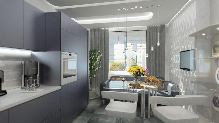 Интерьер-кухни в стиле хай тек с серыми шторами