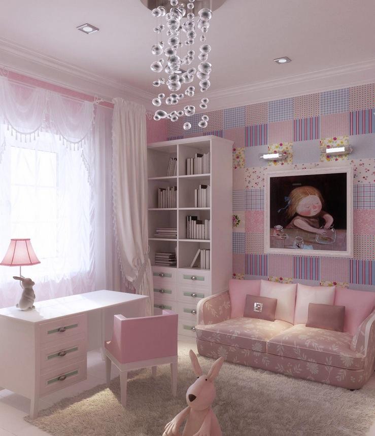 Вариант оформления детской комнаты в розово-фиолетовых тонах