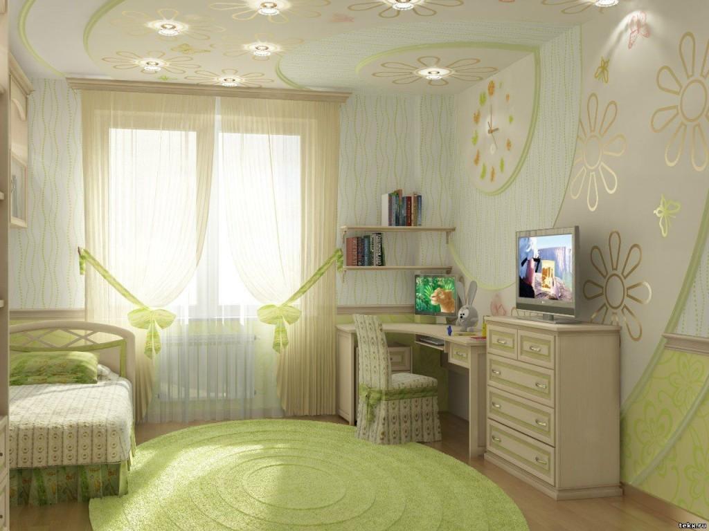 Дизайн светлой комнаты для девочки в зеленых тонах