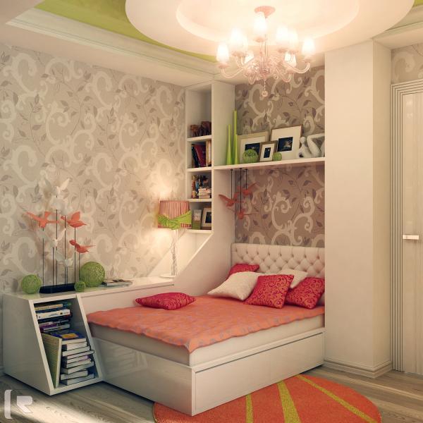 Расположение кровати в нише детской комнаты