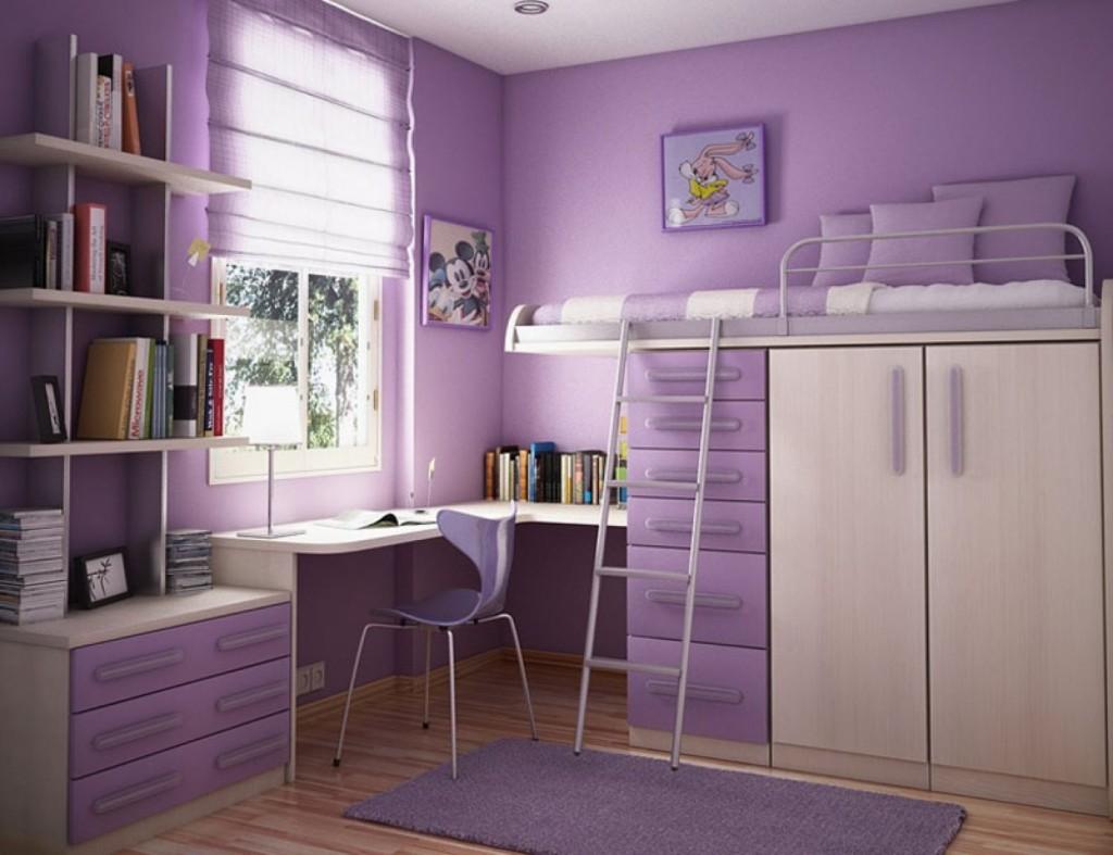 Детская комната в фиолетовых тонах с рабочим местом и кроватью