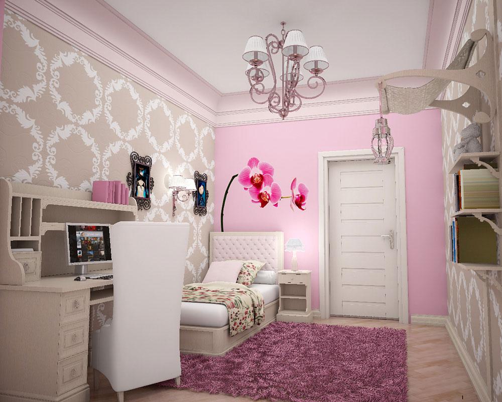 Дизайн комнаты для девочки в нежно-розовых тонах