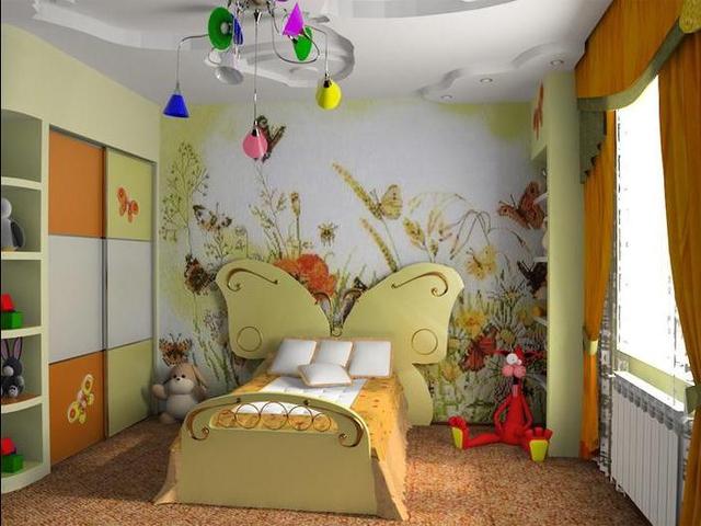 Идея дизайна детской комнаты для девочки с растительным рисунком на стенах