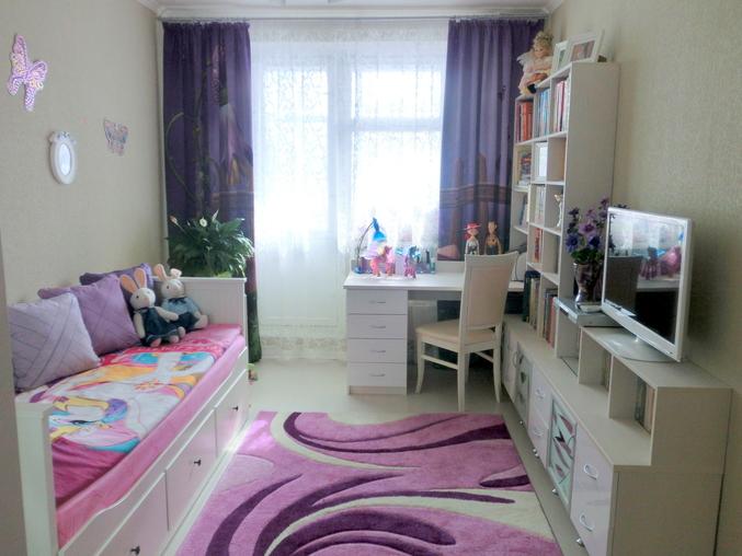 Дизайн узкой комнаты для девочки-подростка