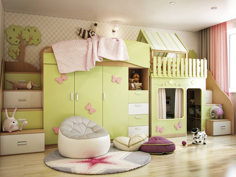 Дизайн комнаты для девочки в зелёных тонах