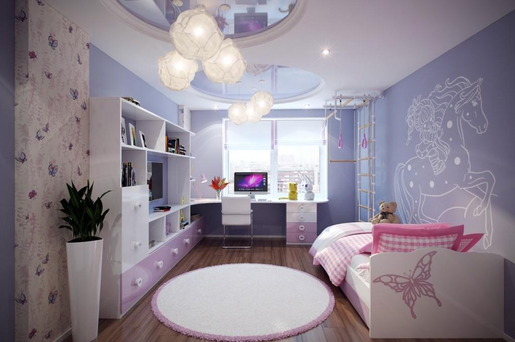 Интерьер детской комнаты в синих тонах с рисунком на стене