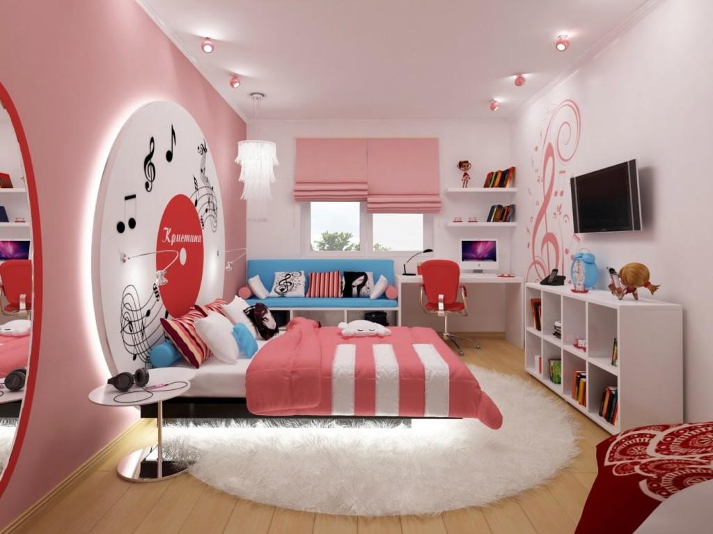 Пример оформления дизайна комнаты для девочки в музыкальном стиле