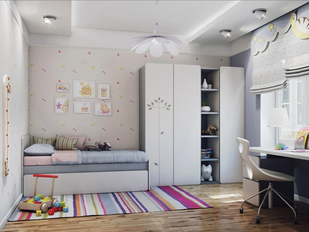 Идея обустройства детской комнаты в светлых тонах