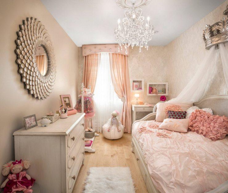 Дизайн узкой комнаты для девочки
