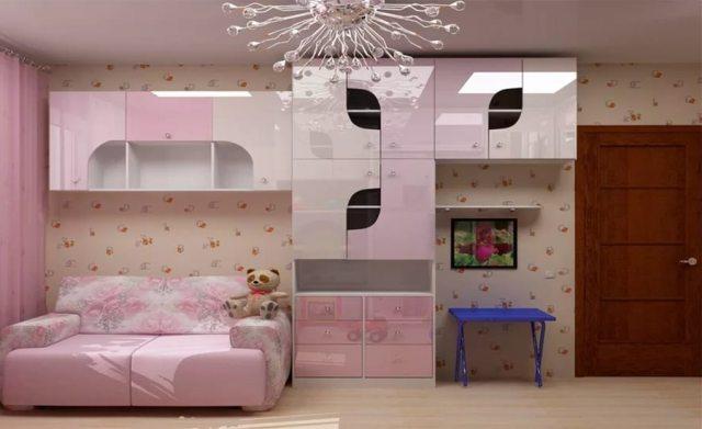 Идея дизайна комнаты для девочки в розовых тонах