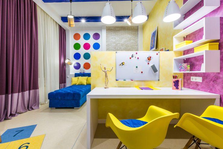 Оригинальная детская комната в желтых тонах