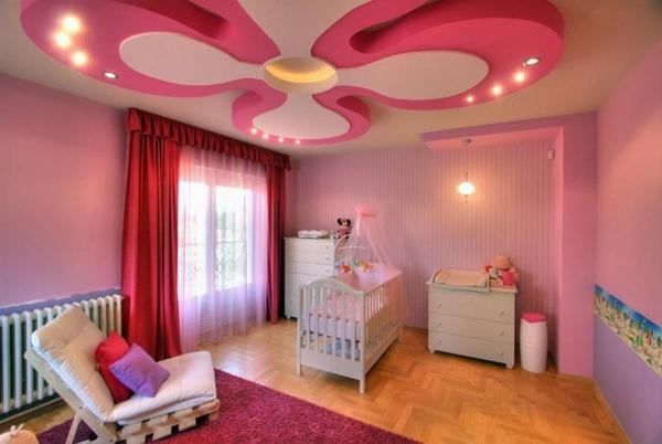 Просторная детская комната с оригинальным потолком