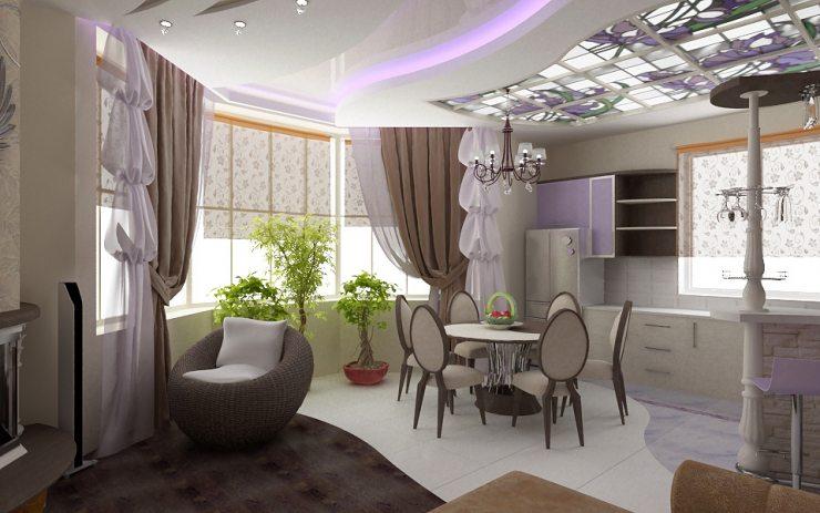Дизайн столовой зоны со шторами 2