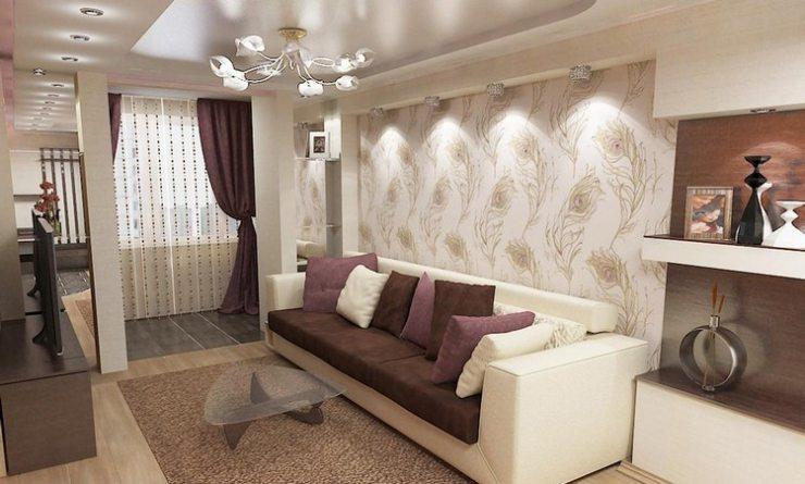 Дизайн гостиной в светлых тонах с бордовыми акцентами