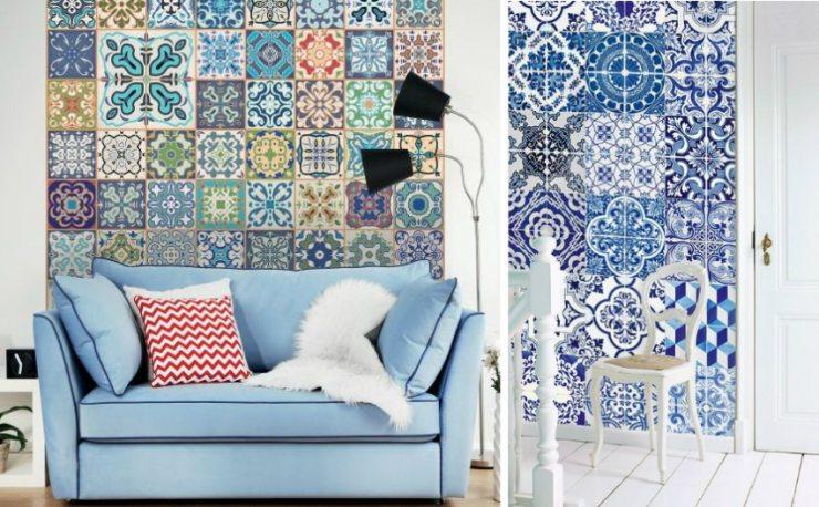 Обои в стиле пэчворк сине-белых цветов для гостиной