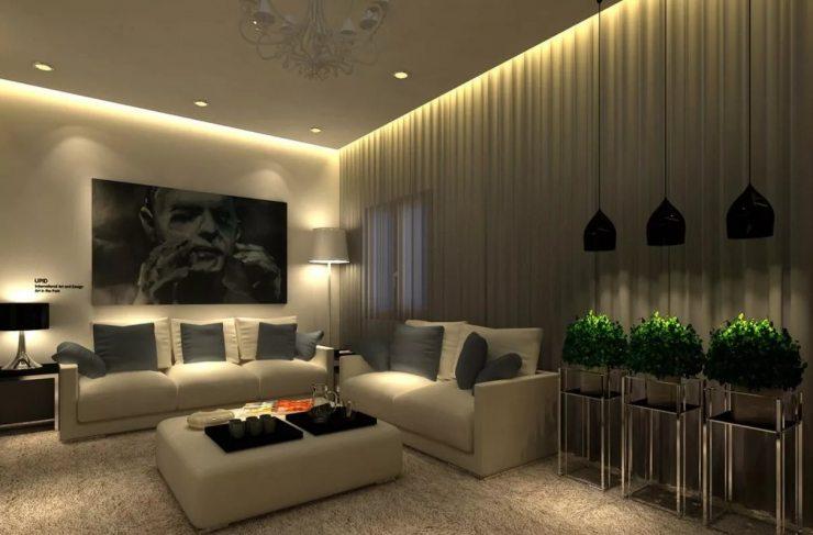 Подсветка штор в гостиной