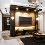 Подсветка ниши под телевизор в гостиной