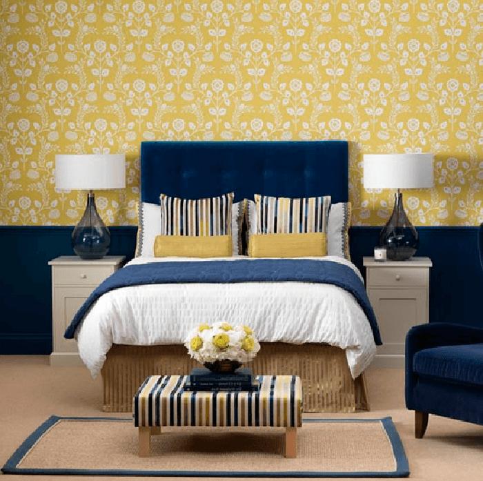 Сине-жёлтая спальня