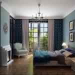 Сочетание различных оттенков синего в спальне
