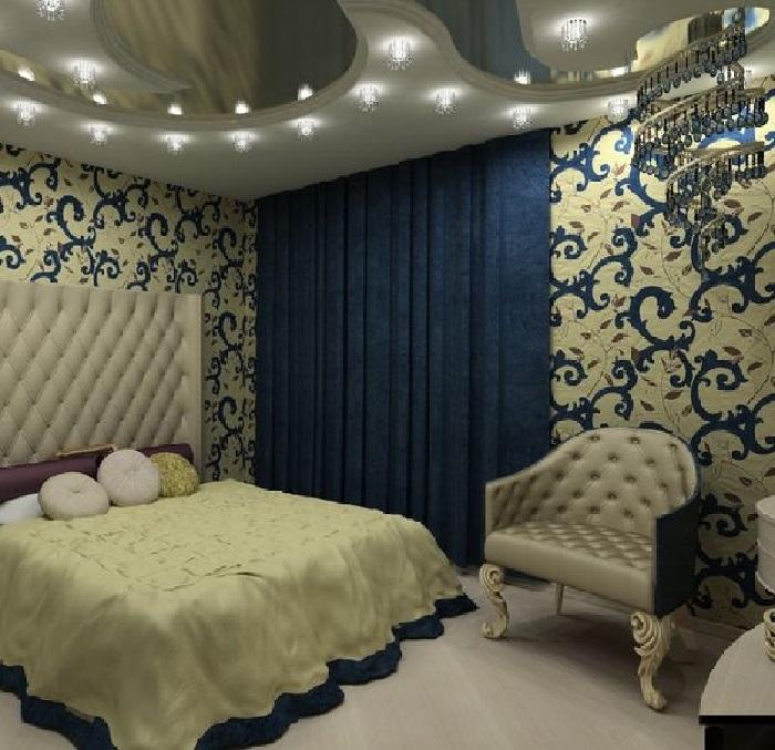 Классическая синяя спальня