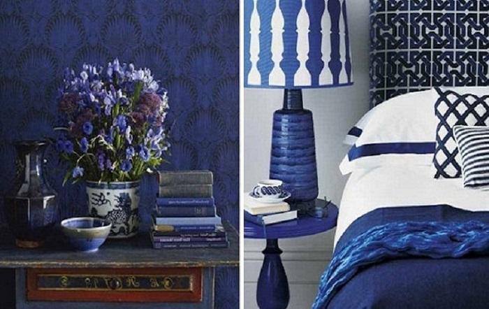 Декор синей прованской спальни