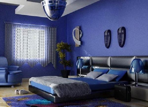 Декор в синей спальне стиля хай-тек