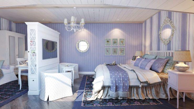 Мебель синей прованской спальни